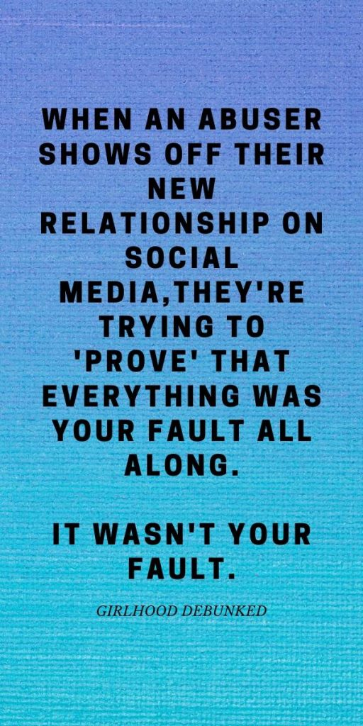 An abuser posts on social media to prove that it can't have been his fault.